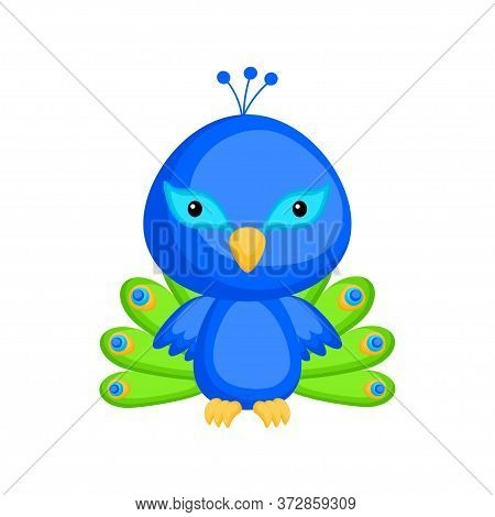 Cute Funny Baby Peacock Isolated On White Background. Adorable Animal Character For Design Of Album,