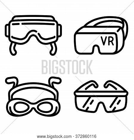 Goggles Icons Set. Outline Set Of Goggles Vector Icons For Web Design Isolated On White Background
