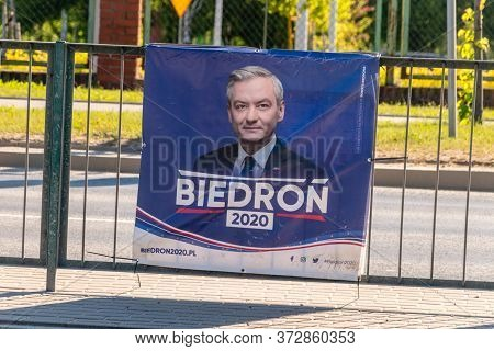 Olsztyn, Poland - May 31, 2020: Election Poster Of The Polish Presidential Candidate Robert Biedron.