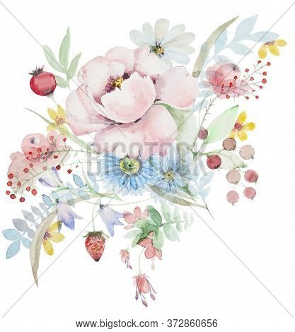 Watercolor Bouquet Of Wildflowers. Peonies With Berries And Other Flowers. Botanical Spring Composit