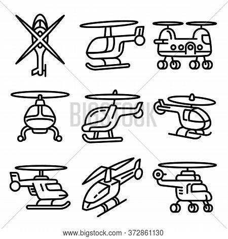 Helicopter Icons Set. Outline Set Of Helicopter Vector Icons For Web Design Isolated On White Backgr
