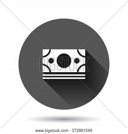 Dollar Currency Banknote Icon In Flat Style. Dollar Cash Vector Illustration On Black Round Backgrou