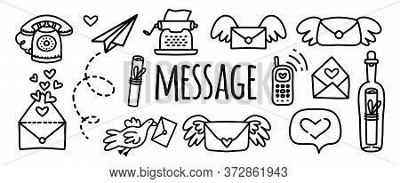 Vector Doodles Set Message, Letter, Typewriter, Paper Airplane, Phone, Mobile Phone, Letter With Win