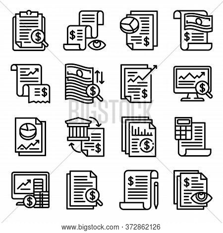 Expense Report Icons Set. Outline Set Of Expense Report Vector Icons For Web Design Isolated On Whit
