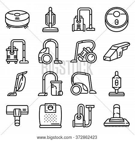 Vacuum Cleaner Icons Set. Outline Set Of Vacuum Cleaner Vector Icons For Web Design Isolated On Whit