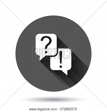 Question And Answer Icon In Flat Style. Dialog Speech Bubble Vector Illustration On Black Round Back