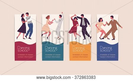 Set Of Different Colorful Posters Dancing School Vector Flat Illustration. Collection Of Various Pro