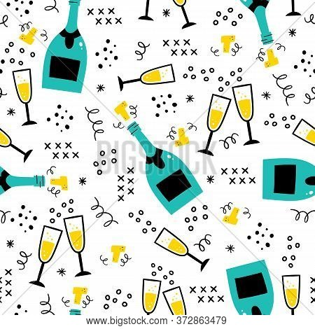 Champagne Bottles And Glasses Seamless Pattern. Hand Drawn Champagne Explosion And Champagne Flutes.