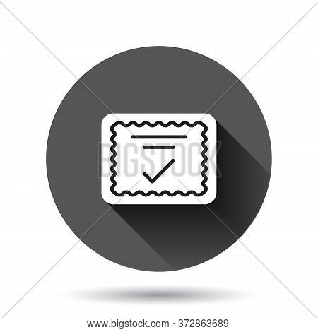 Approve Certificate Icon In Flat Style. Document Check Mark Vector Illustration On Black Round Backg