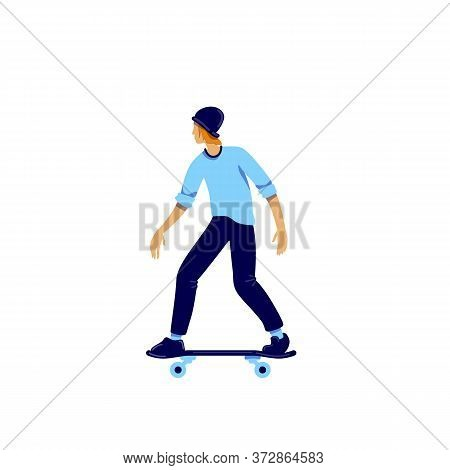 Skater Flat Color Vector Faceless Character. Teenager Hobby. Activity For Recreation. Urban Lifestyl