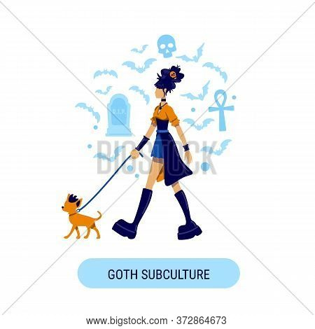 Girl In Victorian Clothes Social Media Post Mockup. Goth Subculture Phrase. Web Banner Design Templa