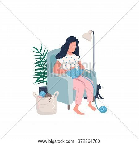 Knitting Woman Flat Color Vector Faceless Character. Pastime Activity. House Recreation. Learn New C