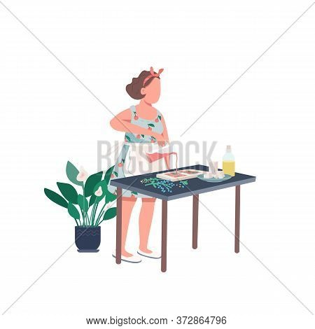 Creative Woman Flat Color Vector Faceless Character. Housewife Make Diy Soap. Recipe For Craft. Crea
