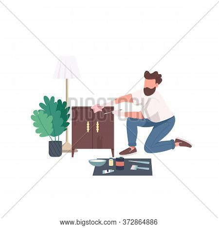 Craftsman Flat Color Vector Faceless Character. Man Paint Cabinet. Worker For Repair Service. Home R