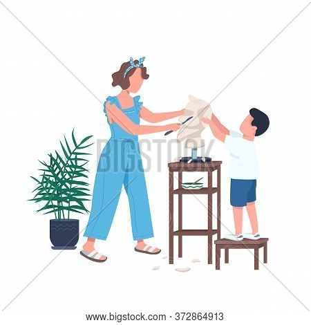 Family Sculpting Flat Color Vector Faceless Character. Mother Help Son Carving Marble. Leisure For P