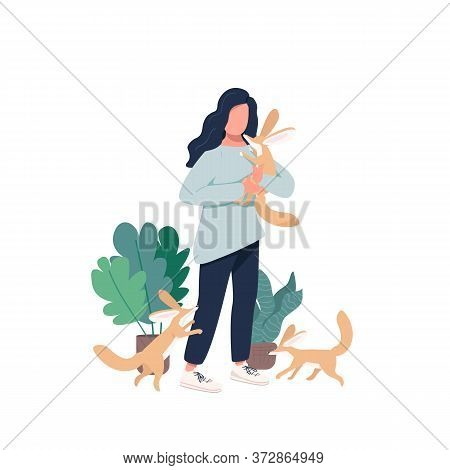 Veterinarian Flat Color Vector Faceless Character. Domesticated Carnivore Animal Cubs. Woman With Fe