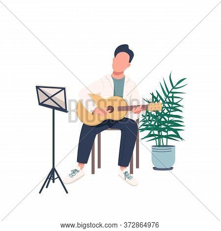 Male Guitarist Flat Color Vector Faceless Character. Man With Acoustic Guitar. Guy Learn New Skill.