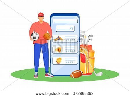 Mobile App For Sportswear Flat Concept Vector Illustration. Shop For Footwear And Uniform. Sportsman