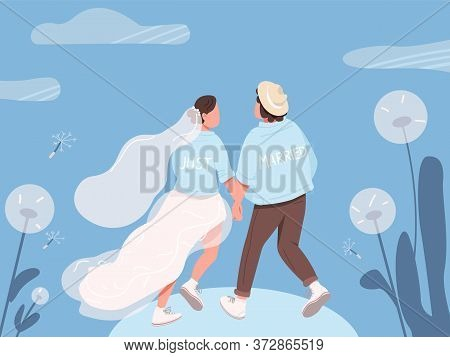 Just Married Happy Couple Flat Color Vector Illustration. Bride And Groom Holding Hands. Young Wife