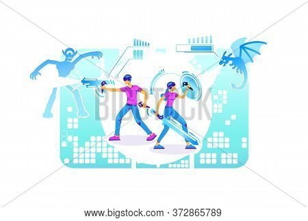 People In Fighter Simulator 2d Vector Web Banner, Poster. Gamer Group With Vr Headset And Controller