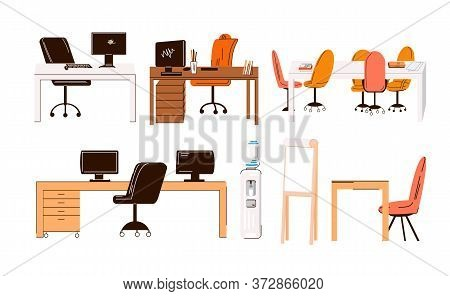 Vector Flat Collection Of Office And Home Work Places, Work Stations - Set Of Furniture - Desk With