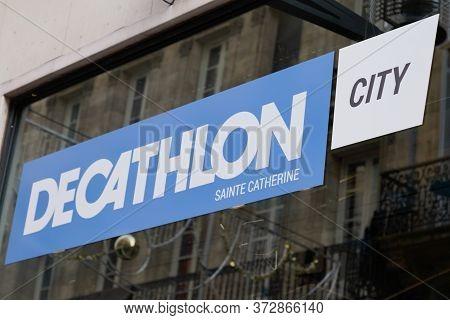Bordeaux , Aquitaine / France - 10 30 2019 : Decathlon City Sign Store Logo In Shop Building Bordeau
