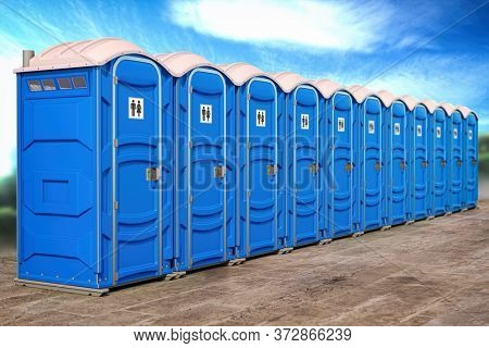 Portable plastic toilets in a row. 3d illustration