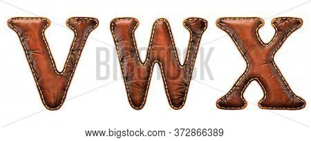 Set of leather letters V, W, X uppercase. 3D render font with skin texture isolated on white background. 3d rendering