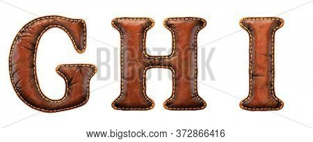 Set of leather letters G, H, I uppercase. 3D render font with skin texture isolated on white background. 3d rendering