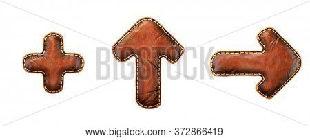 Set of symbols plus, up arrow and right arrow made of leather. 3D render font with skin texture isolated on white background. 3d rendering