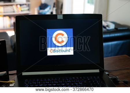 Bordeaux , Aquitaine / France - 03 30 2020 : Cdiscount Logo Sign On Notebook Laptop Computer Screen
