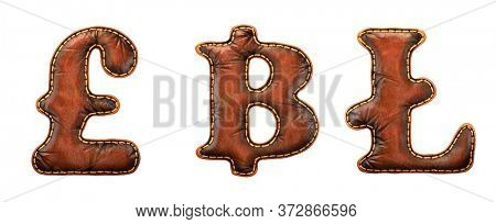 Set of symbols lira, baht, litecoin made of leather. 3D render font with skin texture isolated on white background. 3d rendering