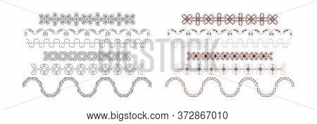 Frieze, Border Ornament With Pretty Spiral. Illustration In Color And Also In Black. Vector.