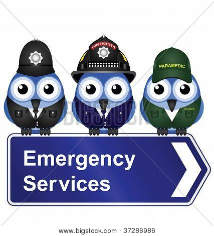 Emergency services sign isolated on white background poster
