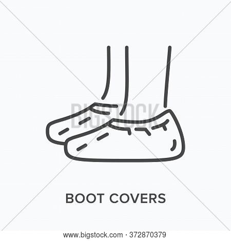 Shoe Covers Flat Line Icon. Vector Outline Illustration Of Coronavirus Ppe. Medical Safety Wear Thin