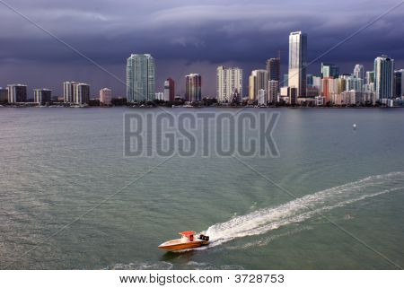 Miami Skyline And Biscayne Bay