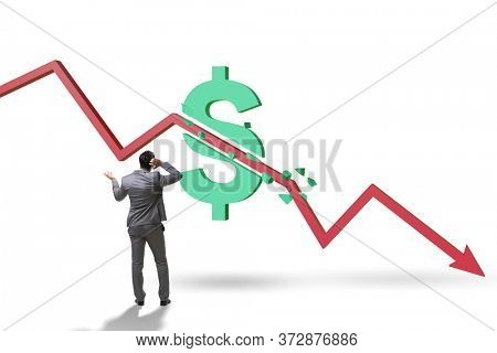 Concept of economic crisis and dollar inflation