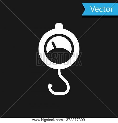 White Spring Scale Icon Isolated On Black Background. Balance For Weighing. Determination Of Weight.