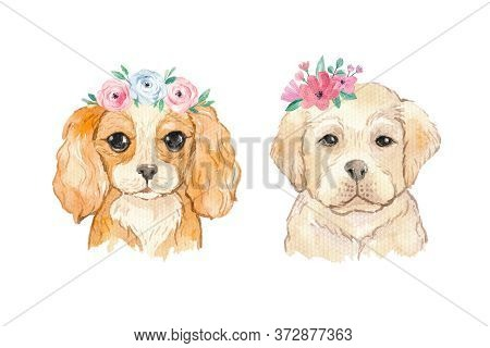 Watercolor Dogs Labrador And Cavalier King Spaniel Portraits With Floral Wreaths Of Blooming Flowers