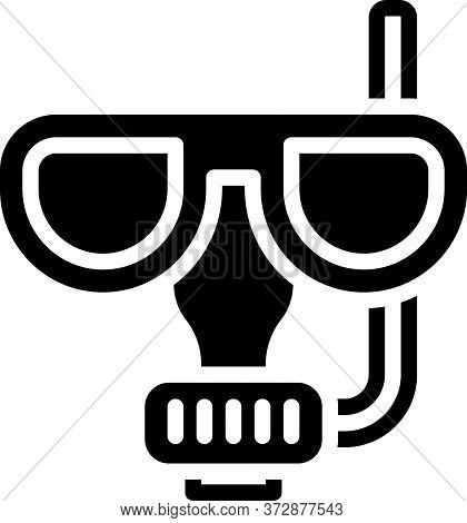 Black Diving Mask And Snorkel Icon Isolated On White Background. Extreme Sport. Diving Underwater Eq