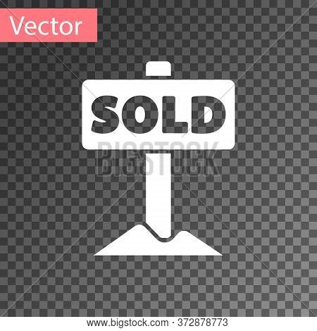 White Hanging Sign With Text Sold Icon Isolated On Transparent Background. Sold Sticker. Sold Signbo