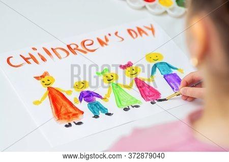 Child Is Drawing The Different Children With Words Childrens Day For The Holiday Happy Childrens Day