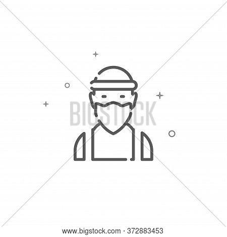Masked Criminal Simple Vector Line Icon. Criminal Face Symbol, Pictogram, Sign. Light Background. Ed