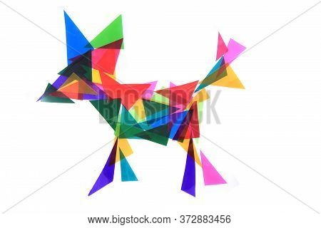 Dog From Plastic Color Triangles Isolated On White Background