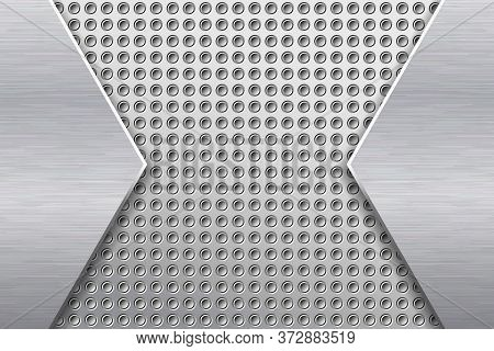 Metal Background With Different Textures. Silver Embossed Metal And Brushed Steel. Eps10