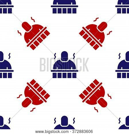 Blue And Red Sauna And Spa Procedures Icon Isolated Seamless Pattern On White Background. Relaxation