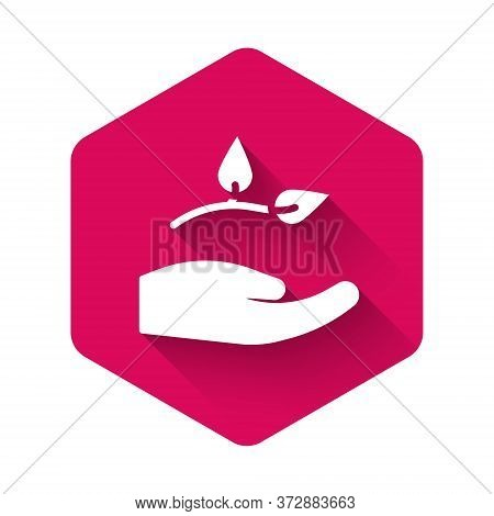 White Leaf In Hand Of Environmental Protection Icon Isolated With Long Shadow. Seed And Seedling. Pl