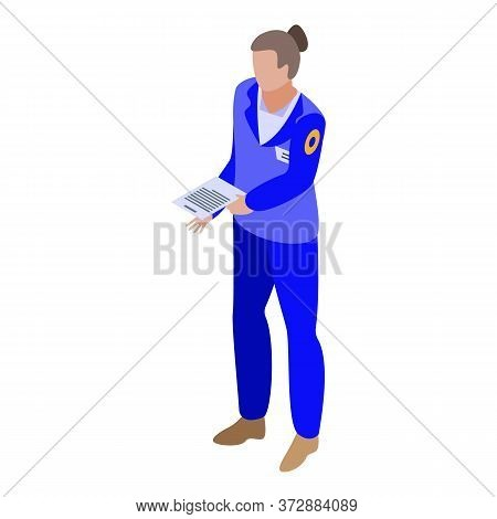 Woman Tax Inspector Icon. Isometric Of Woman Tax Inspector Vector Icon For Web Design Isolated On Wh