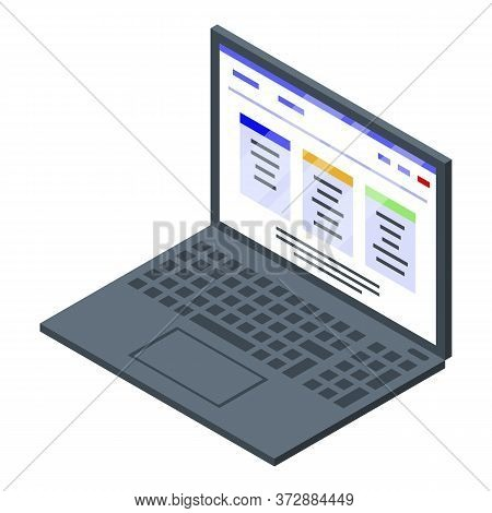 Tax Inspector Laptop Icon. Isometric Of Tax Inspector Laptop Vector Icon For Web Design Isolated On