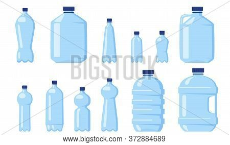 Various Water Plastic Bottles Flat Icon Set. Beverage Different Packaging And Liter Containers Isola